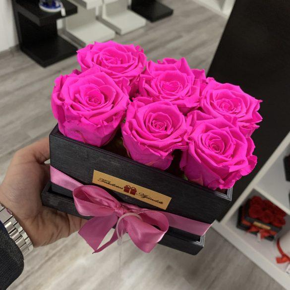 6 szálas Örök rózsa / Forever Rose fa díszdobozban - PINK