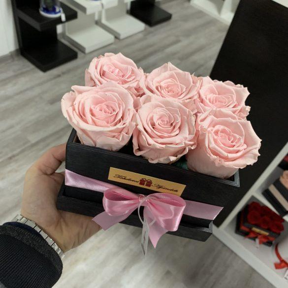 6 szálas Örök rózsa / Forever Rose fa díszdobozban - RÓZSASZÍN