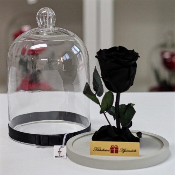 Standard búrába zárt Örök rózsa / Forever Rose - Fekete