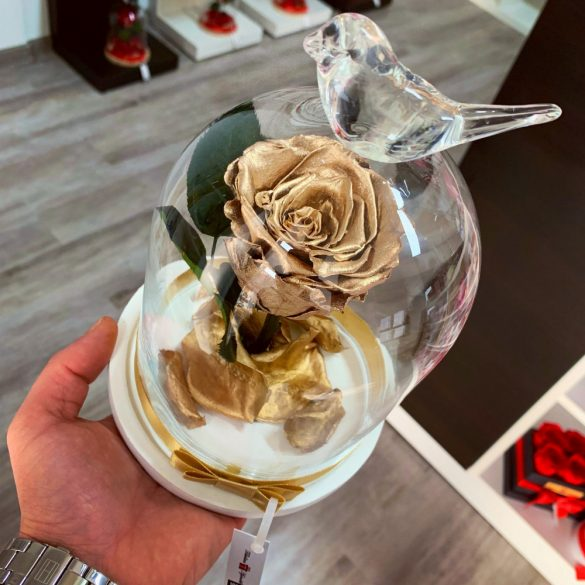 Standard méretű búrába zárt Örök rózsa / Forever Rose - Metál Arany