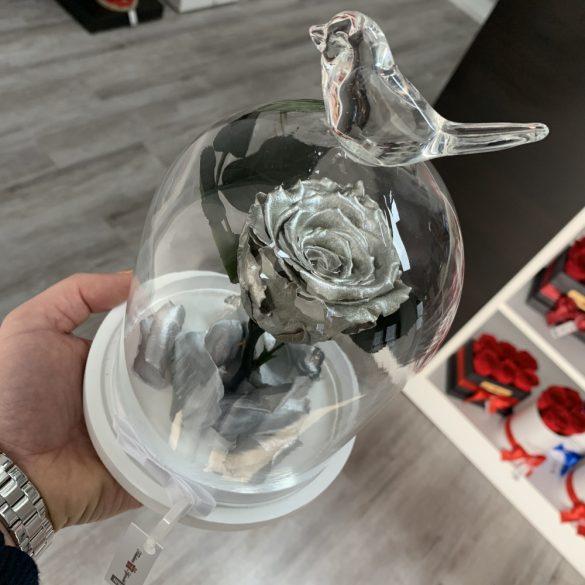 Standard méretű búrába zárt Örök rózsa / Forever Rose - Metál Ezüst