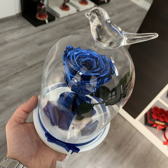 Standard méretű búrába zárt Örök rózsa / Forever Rose - Metál Kék