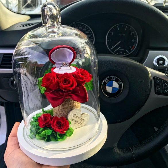 Eljegyzési Örök rózsa Búrába Zárva / Forever Rose - Vörös